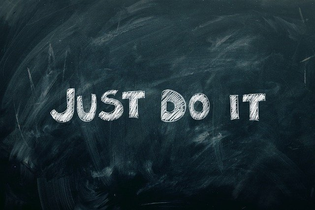black board just do it written in chalk